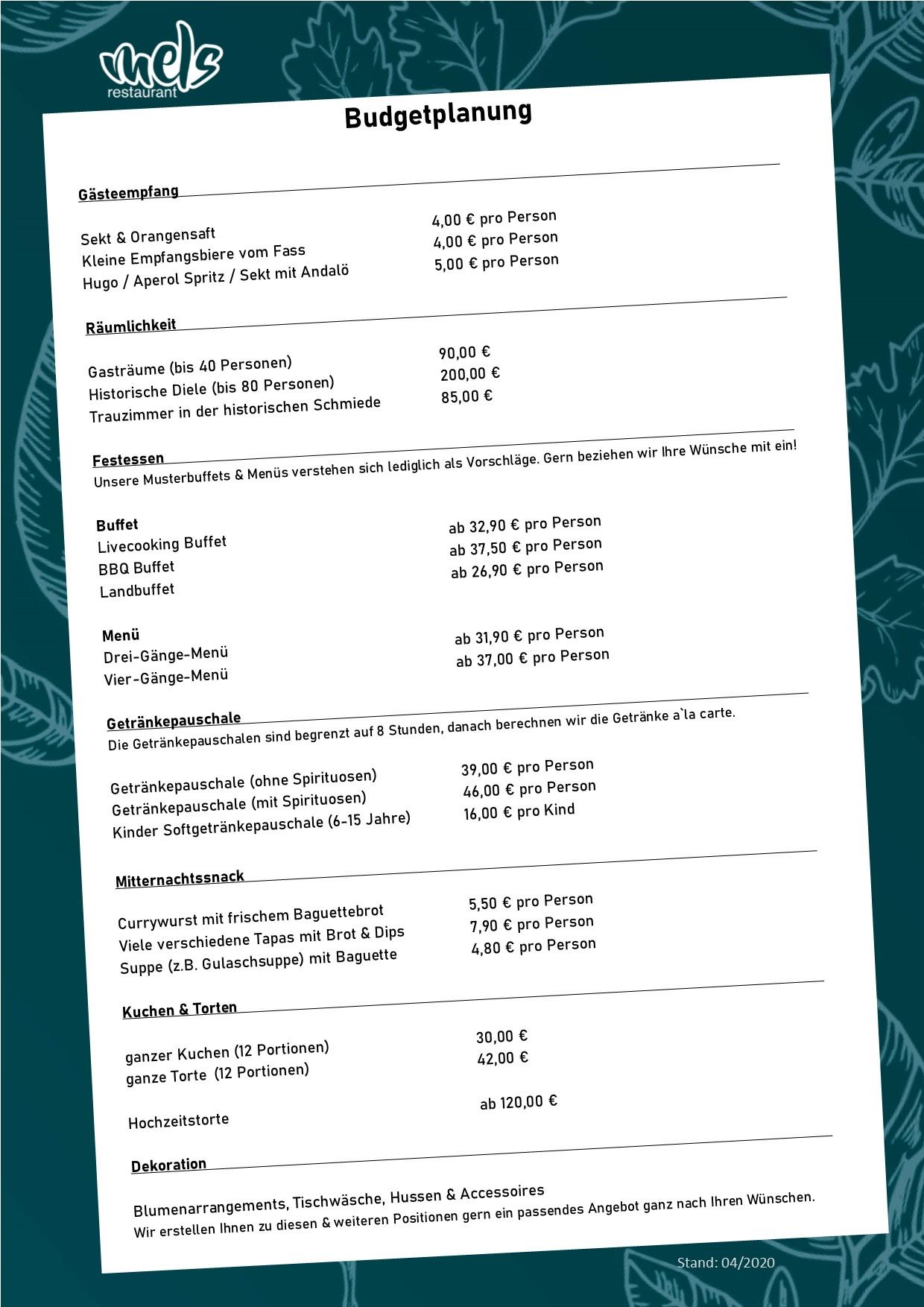 Budgetplaner Mels Restaurant Event Tagung Hochzeit Hof Viehbrook