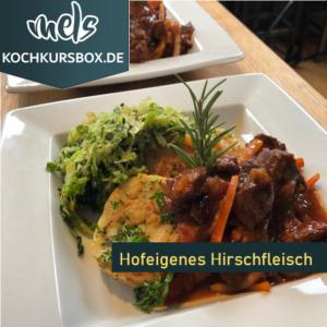 Hirsch Wild Gulasch Kochkurs Box Kochschule Foodbox Mels Hof Viehbrook
