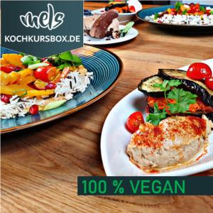 Veganes Menü Kochkurs Box vegan vegetarisch Mels Videoanleitung 3 Gänge Hof Viehbrook Hummus Curry Kokos Bananenörtchen Bananenkuchen Süßkartoffel