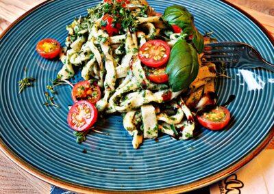 Bärlauch Pasta Petrol Tomate Mels Restaurant Kochkurs Hof Viehbrook