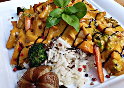 vegan Kokos Curry Gemüse Mels Restaurant Hof Viehbrook