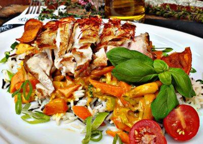 Hähnchen Huhn Kokos Curry Gemüse Hof Viehbrook Mels Restaurant