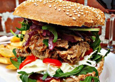 Pulled Pork Burger Hof Viehbrook Mels Restaurant