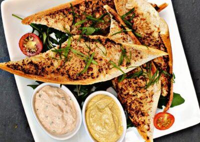 Knoblauch Brot Knobi Mels Restaurant Hof Viehbrook Vorspeise Dip